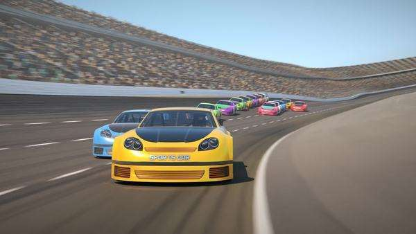 Yellow race car on a track leading the pack with speed Royalty-free stock video