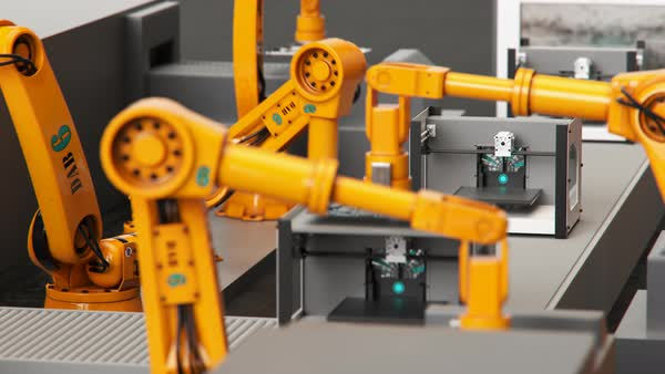Loopable shot, robotic arms building printers on a assembly line Royalty-free stock video