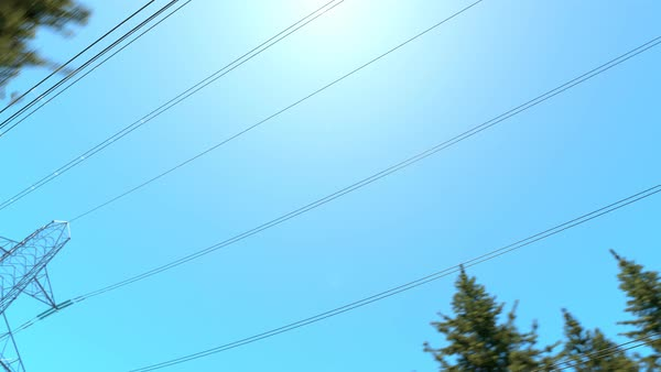 Camera moving forward under the electricity pylons Royalty-free stock video