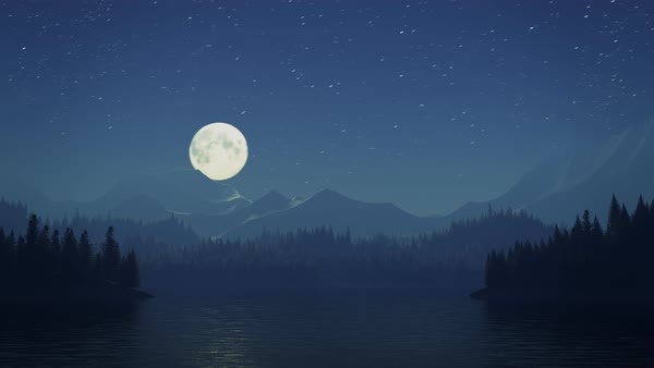 Animated shot of full moon over a mountain valley Royalty-free stock video