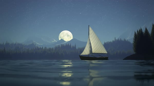 Camera pans on a fishing boat in a bay with full moon in the background Royalty-free stock video