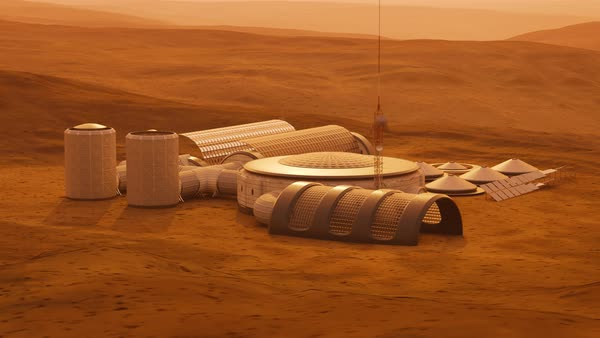 Camera fly above the base being build on a mars surface Royalty-free stock video