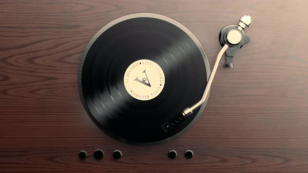 Loopable animation of record player with spinning vinyl. Royalty-free stock video