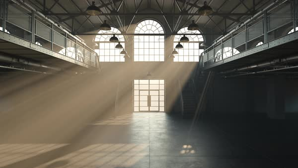 Camera moving towards the light in windows in an abandoned warehouse Royalty-free stock video