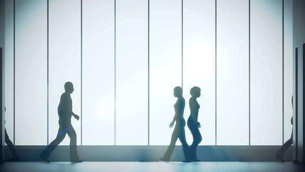 Silhouettes of a crowd of backlighted people walking in bright spacious lobby. Timelapse Royalty-free stock video