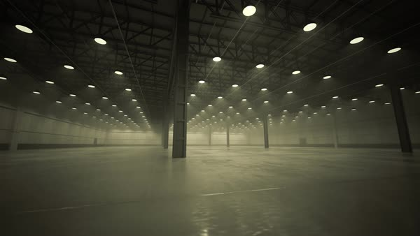 Camera pans in the empty warehouse Royalty-free stock video