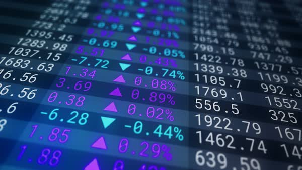 Stock market board on a blue background Royalty-free stock video