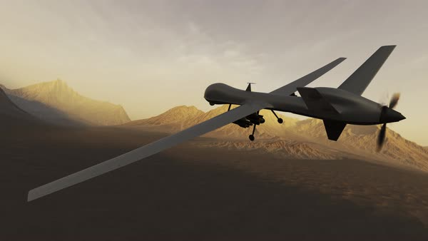 Military Predator Drone Flying Over Desert And Mountains Camera Is Fixed To Royalty