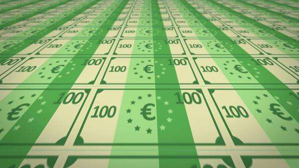Seamless Printed Uncut Sheets Of Hundred Euro Notes. Royalty-free stock video