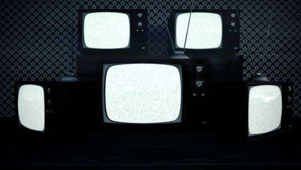 Exhibition Of Old Retro Color TV Sets With Antenna Static Noise Royalty-free stock video