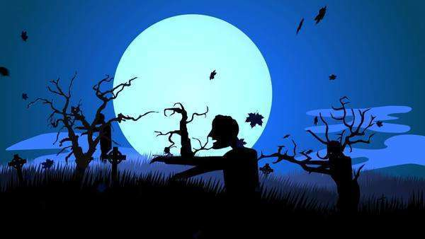 Silhouette Of Creepy Zombie Walking At Spooky Graveyard Against Moonlight Royalty-free stock video