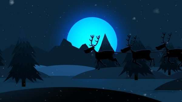 Christmas Santa Claus Riding On Sledge With Reindeers In Winter Royalty-free stock video