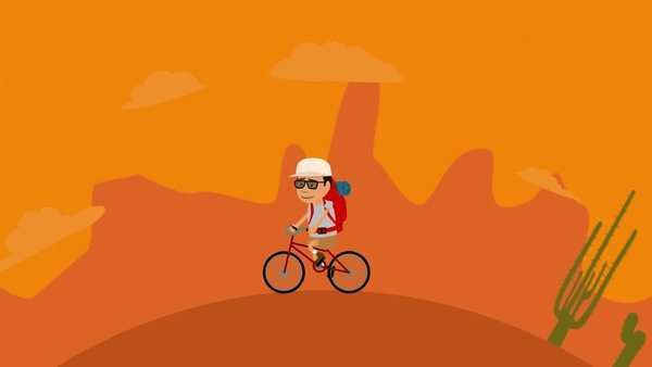 Man With Backpack Riding Bicycle In Desert And Forest Royalty-free stock video