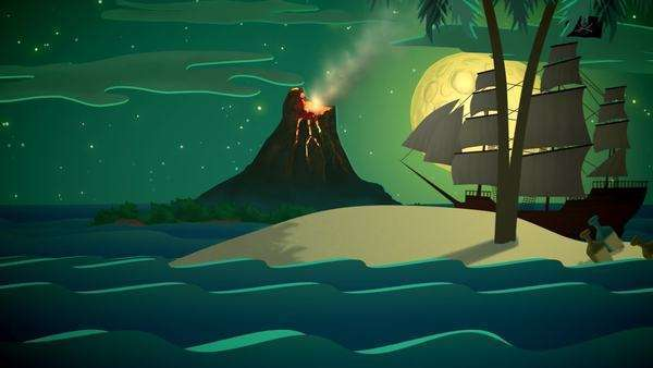 Pirate Ship In Sea With Volcano Mountain In Background Royalty-free stock video