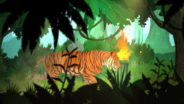 Tiger Walking In Jungle With Tribal Statues And Fire In Background Royalty-free stock video