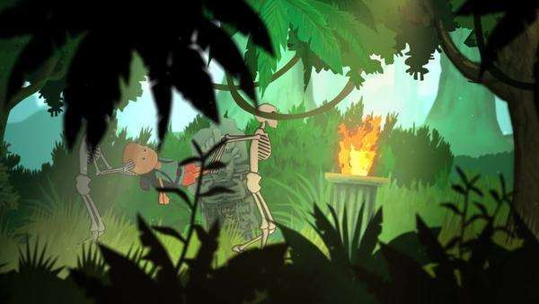 Two Skeletons Carrying A Tourist In Forest Royalty-free stock video