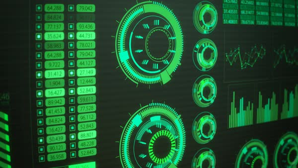 Close-up Of Green Advanced Futuristic Screen With Rising And Decreasing Bars. GUI Royalty-free stock video