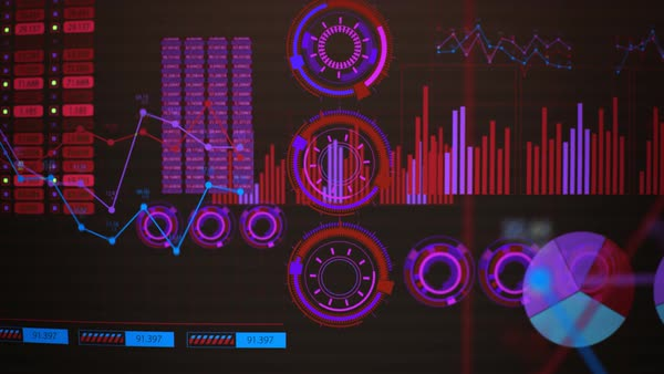 Track In Of Red Advanced Futuristic Screen With Rising And Decreasing Bars. GUI Royalty-free stock video