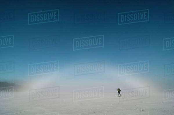 Rear view of a person standing on ice rink Royalty-free stock photo