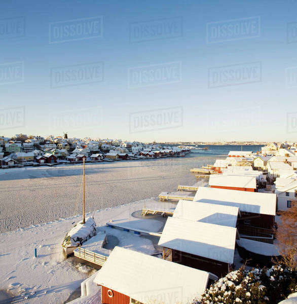 Snow covered houses in Lysekil, Bohuslan, Sweden Royalty-free stock photo