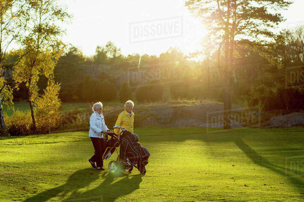 Senior women walking with golf bags on grassy area Royalty-free stock photo