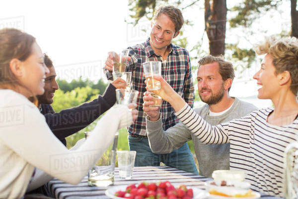 Group of happy friends toasting beer glasses during lunch at picnic table Royalty-free stock photo