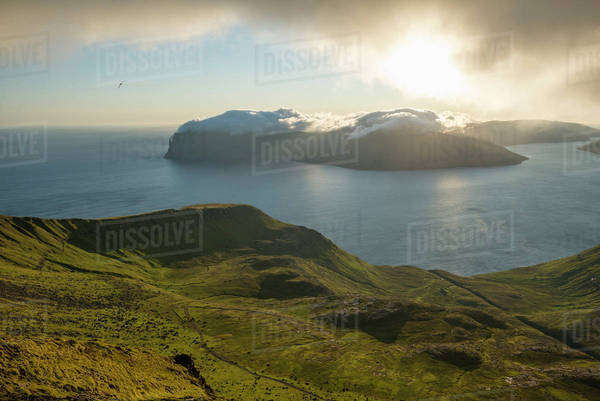 Scenic view of Faroe Islands on sunny day Royalty-free stock photo