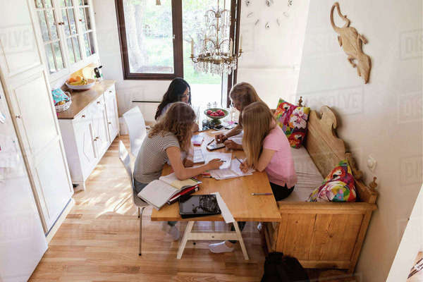 High angle view of teenage girls studying in living room Royalty-free stock photo