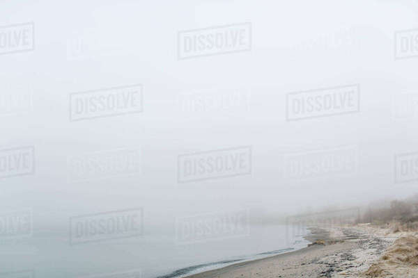 Scenic view of beach in foggy weather Royalty-free stock photo