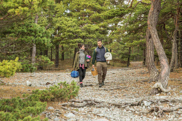 Couple carrying sleeping bags and basket in forest Royalty-free stock photo