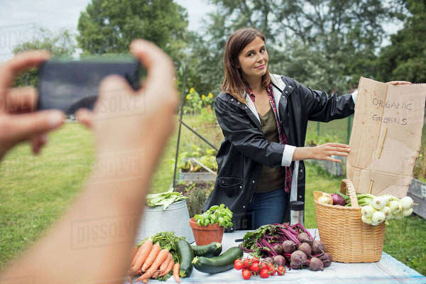 Cropped image of man photographing woman posing at table full of garden vegetables Royalty-free stock photo