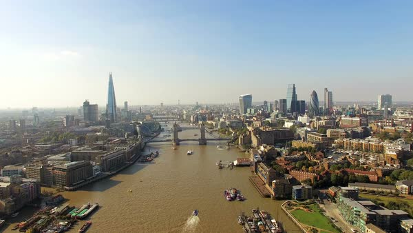 The new London skyline, aerial shot Royalty-free stock video