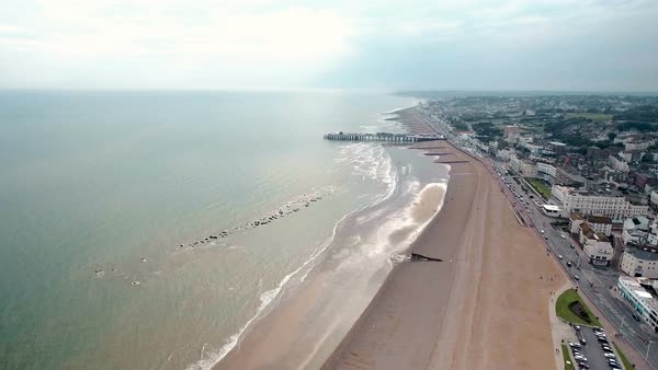 Hastings beach and pier aerial video at East Sussex, England Royalty-free stock video
