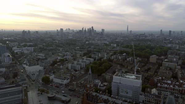 Aerial View London Sunrise Cityscape Iconic Landmarks and King's Cross St Pancras International Station Royalty-free stock video