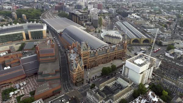 Aerial View of Iconic Architecture and Landmark Kings Cross and St Pancras Railway Stations in London, UK Royalty-free stock video