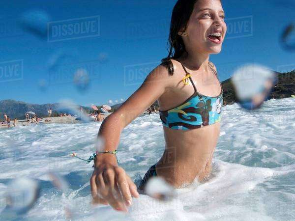 Girl at Beach,swimming in the Sea Royalty-free stock photo