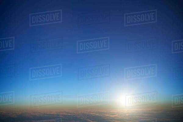 Aerial view of sunrise over cloudscape Royalty-free stock photo