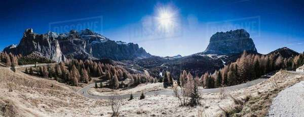Panoramic view of mountain landscape and winding road, Dolomites, Italy Royalty-free stock photo