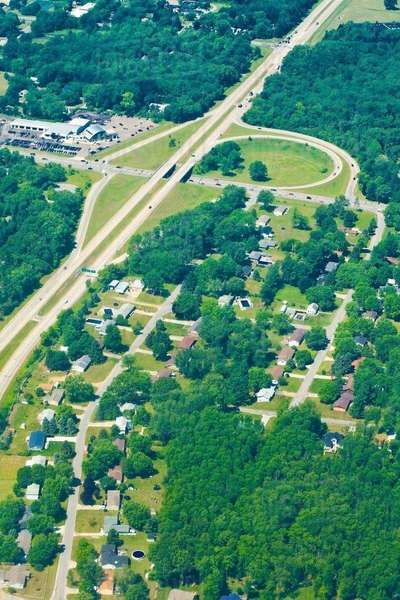 Aerial view of houses and roads, Indiana, USA Royalty-free stock photo