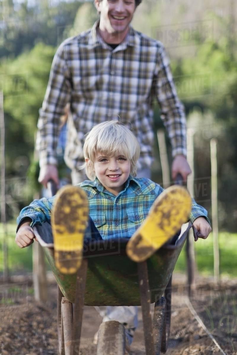 Father Pushing Son In Wheelbarrow Stock Photo Dissolve