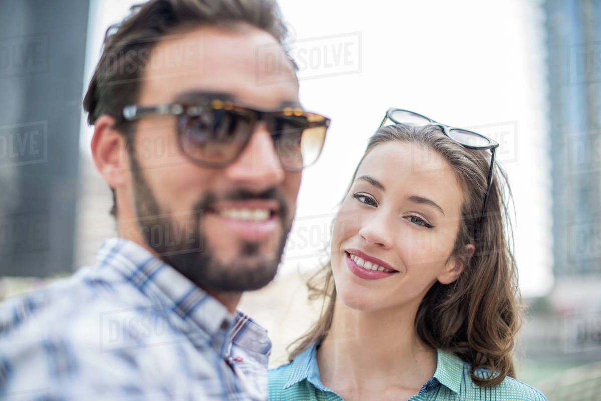 Tourist Couple Posing For Selfie Dubai United Arab Emirates