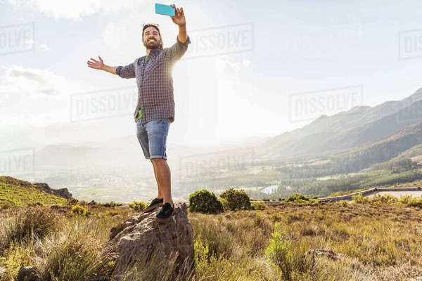 Man taking selfie on sunny day, Franschhoek, South Africa Royalty-free stock photo