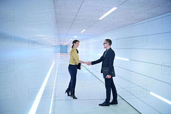 Businesswoman and man shaking hands in office corridor Royalty-free stock photo