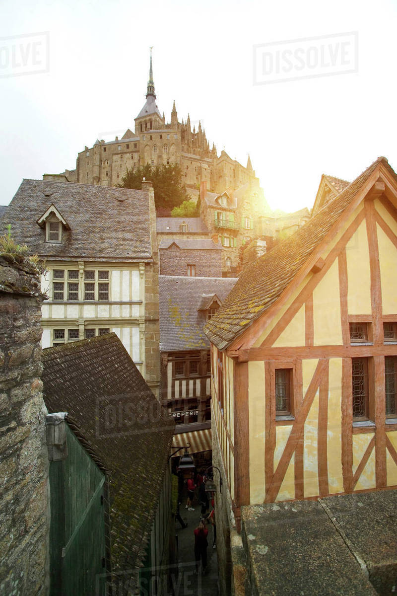 Magnificent View Of Timber Framed Houses And Mont Saint Michel Normandy France Stock Photo Beutiful Home Inspiration Papxelindsey Bellcom