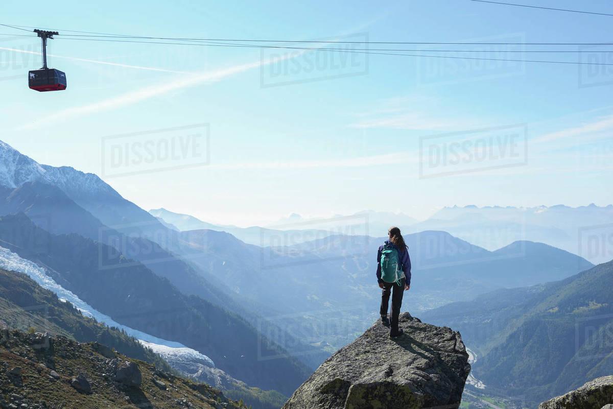 Mountain climber at summit, Chamonix, Rhone-Alps, France Royalty-free stock photo