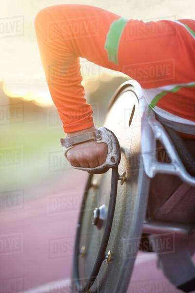 Close up of arm of athlete in para-athletic competition Royalty-free stock photo