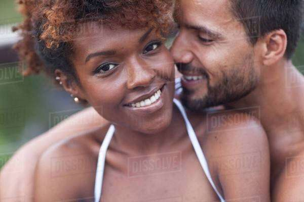 Portrait of smiling couple hugging Royalty-free stock photo