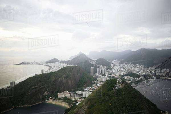 View of Rio De Janeiro coastline from Sugar Loaf Mountain, Brazil Royalty-free stock photo