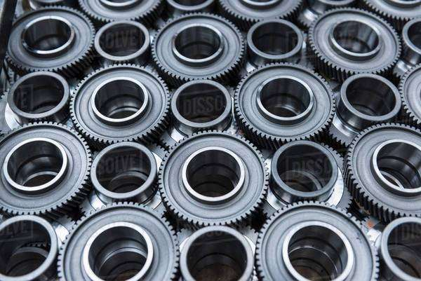 Steel gear wheels in production in engineering factory Royalty-free stock photo