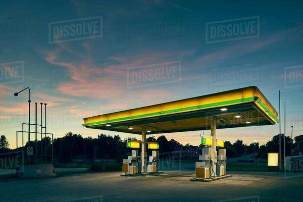 Empty gas station at dusk, Kalmar, Sweden Royalty-free stock photo